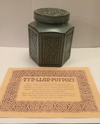 "TYN LLAN Welsh Vintage Studio Pottery Celtic Design Hexagonal Lidded Pot 4"" High"
