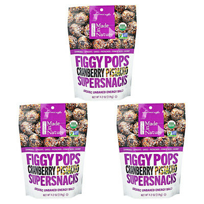 3X Made In Nature Organic Figgy Pops Supersnacks Cranberry Pistachio Daily Food