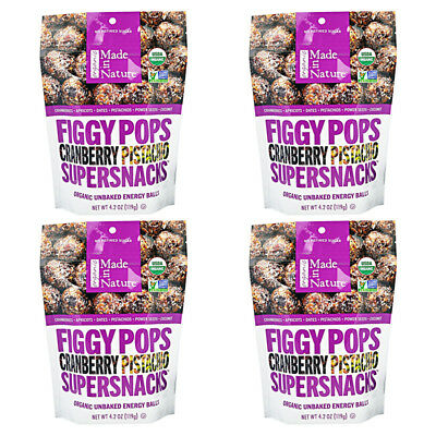 4X Made In Nature Organic Figgy Pops Supersnacks Cranberry Pistachio Daily Food