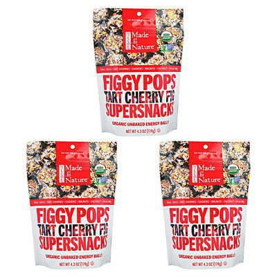 3X New Made In Nature Organic Figgy Pops Supersnacks Tart Cheery Fig Daily Food
