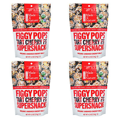 4X New Made In Nature Organic Figgy Pops Supersnacks Tart Cheery Fig Daily Food
