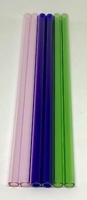 "12 mm OD 8mm ID  Pyrex Glass Blowing Tubing (5) Pieces 5 COLOR  12 "" LONG"
