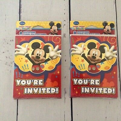 16 DISNEY MICKEY Mouse Clubhouse Birthday Party Invitations Thank You Cards