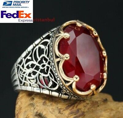 KİNG Design Turkish Handmade Red Ruby 925 Sterling Silver Mens Ring US all size