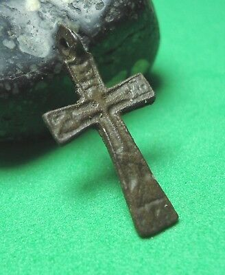 Ancient Bronze Cross Wearable Pendant Antique Rare C22