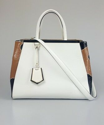 Fendi 2Jours Patent Crinkle Calfskin White Black Brown Petite Tote Bag  Handbag 83102a514fd1d