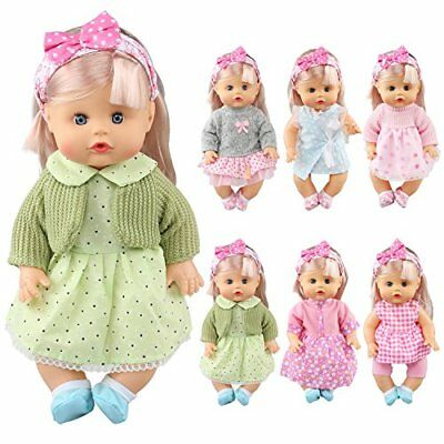 Pack of 6 Alive Lovely Baby Dress Clothes Accessories Gown Outfits Fits for 12in