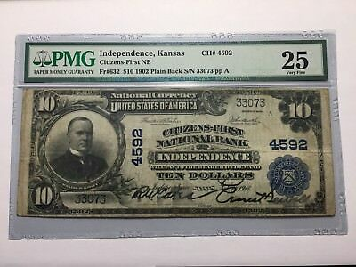 Independence Kansas First National Bank Note 1902 PMG 25 KS 4592 $10