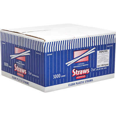 """Comet 7-3/4"""" Wrapped Plastic Straws, Clear, 3000-count"""