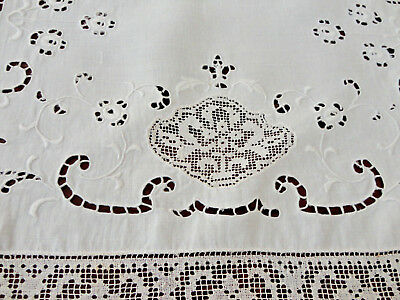 1920S French Cutwork Runner - Lace Insertions, Cutwork, Lace Trimmed,satin Stit
