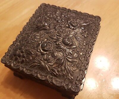 Antique HIGH RELIEF Japanese Finely Detailed chrysanthemum/rose design Metal Box