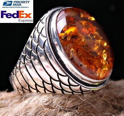 Turkish Handmade 925 Sterling Silver Amber Stone Mens Mans Ring ALL SİZE US