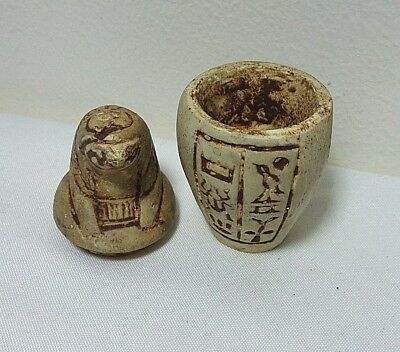 RARE ANCIENT EGYPTIAN ANTIQUE CANOPIC Jar Horus Egyptian Antique (1250-1115) BCE
