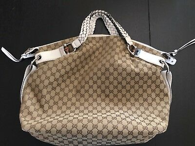 f88268c4ff61 Authentic Gucci Bamboo Bar Shoulder Bag GG Canvas White Leather Large Purse