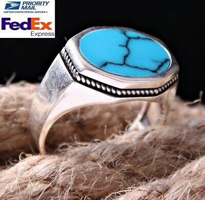 Special Turquoise Stone Turkish Jewelry 925 Sterling Silver Mens Ring ALL SİZE 2