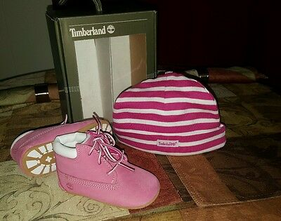Timberland Crib Booties And Hat Set Infant Toddlers Baby Pink/white Baby Shoes