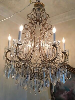 Antique Vintage French Italian Crystal Beaded Directoire Extra Large Chandelier