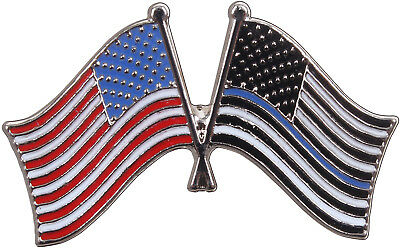 2 Pack Thin Blue Line & US Flag Pin Insignia Police Support Law Enforcement