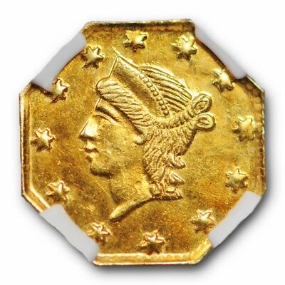1856 California Fractional Gold Piece NGC MS 64 Uncirculated BG 111 Octagonal