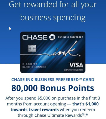 Chase ink preferred business credit card referral 1000 bonus plus extra 65 80k 1k points from chase ink business preferred card reheart Image collections