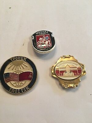 Vintage Russian/Soviet Union/USSR Collectible Pins ~ Set three