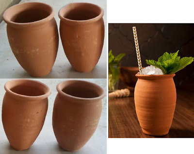 Set of 4 Authentic Clay Mugs Cups Hot/Cold Beverages Mexican Cantaritos Barro