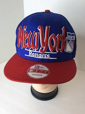 New Era NHL New York Rangers Hockey Snapback 9Fifty Retro Blue Red Cap Hat  Rare ee308663dbfa