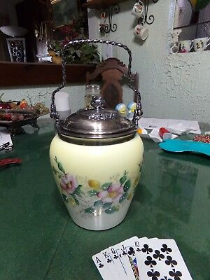 Antique Floral Raised Pattern Biscuit Jar With Silver Plated Lid And Handle
