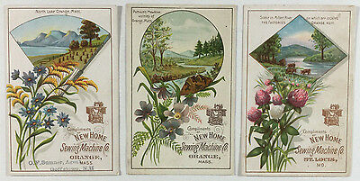 3 Victorian Trade Cards New Home Sewing Machine Scenes of Massachusetts
