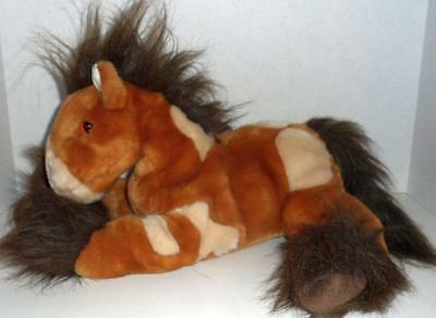 """Toys R Us Animal Alley Brown Floppy Clydesdale Pony Horse 13"""" Stuffed Plush Doll"""