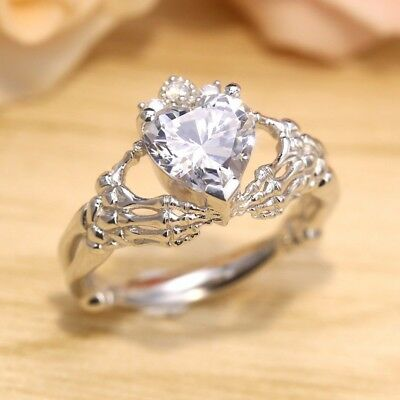 925 Silver Women White Topaz Love Heart Wedding Engagement Claddagh Ring Sz 6-10