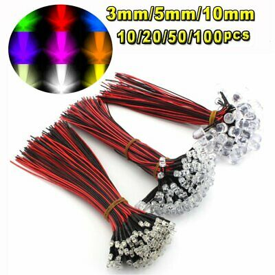 10/20/50/100Pcs DC 9V-12V 3mm 5mm 10mm Pre wired LED Lamp Light Emitting Diodes