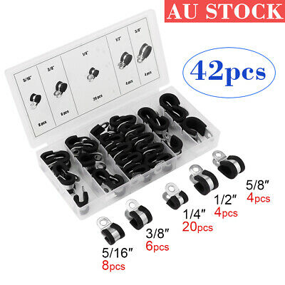 42Pcs Dia Rubber Lined R Shaped Stainless Steel Tube Pipe Clips Clamp Cable
