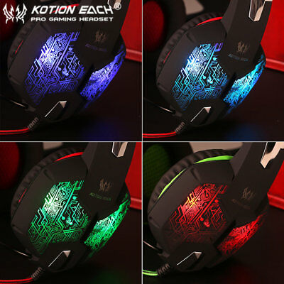 EACH G1000 PC Gaming Bass Stereo Headset Microphone LED Laptop Computer lot CR