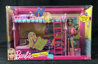 New Htf Barbie Sisters Sleeptime Stacie Doll Bedroom Furniture Bunk