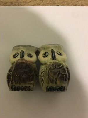 Darbyshire Pottery Owl Salt & Pepper Shakers with Label and Cork Stoppers