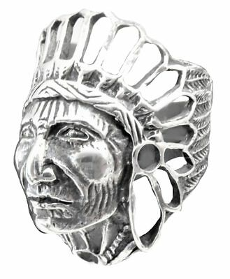 Ring men Old Indian head Ma21 sterling silver 925 All us sizes 4-14