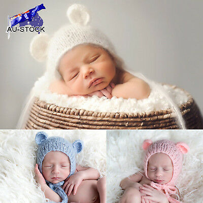 AU-STOCK Baby Newborn Mohair Knitting Bonnet Hat Photo Photography Prop Outfits