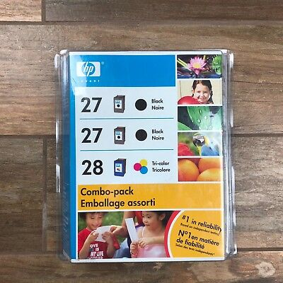 2 Genuine HP 27 + 27 Combo Pack 2 Black ONLY Ink Cartridge NEW