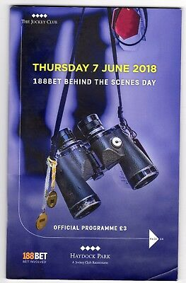 Haydock Park Race Card (book) Thursday 7th June 2018 Behind the Scenes