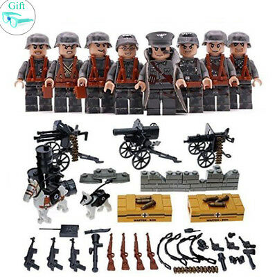 8pcs Army soldier figures German Team with Military Weapons Model Building Brick