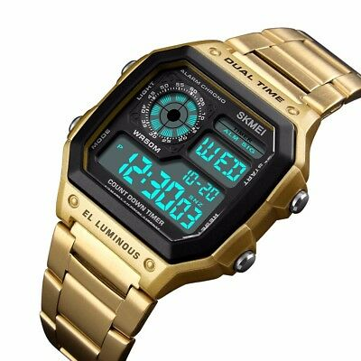 SKMEI Men Luxury Waterproof Alarm Stainless Steel Digital Square Wrist Watch US