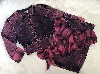 Vintage 2pc Pink Purple Cropped Denim Jacket Bow Ruffle Pencil Skirt Outfit Punk