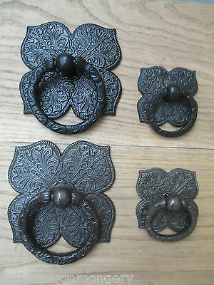 Cast Iron Vintage Ornate Heavy Gate Barn Doors Anneau Pull Handles