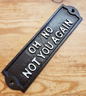 Cast Iron Wall Mounted OH NO NOT YOU AGAIN Plaque For Door / Garden Sign / Funny