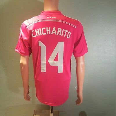 8fe3e074d 2014 2015 Chicharito 14 Real madrid Men s Away Pink Jersey Large