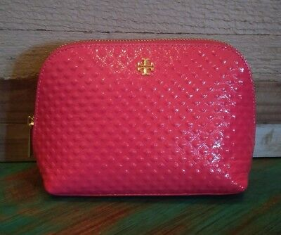 c0f15054a46 Tory Burch Marion Leather Cosmetic Make Up Bag Case Goji Red Hot Pink Peony