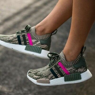 cf6117de4 Adidas NMD R1 PK W Primeknit Green Night Shock Pink Camo BY9864 Sz 9.5  Boost JPN