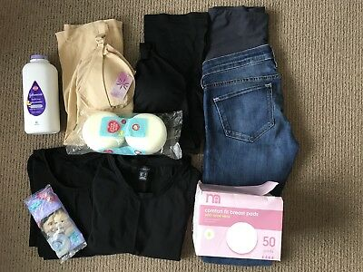 Bundle Of Maternity And Breastfeeding Clothes Job Lot H&M Jeans Baby Powder