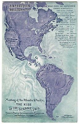 "1915 SAN FRANCISCO PPIE PANAMA-PACIFIC EXPO ""KISS of the OCEANS"" BOOST POSTCARD"
